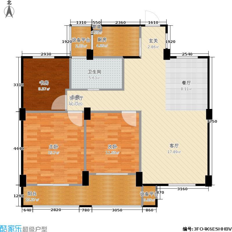 君园和庄109.28㎡二期B户型3室2厅1卫