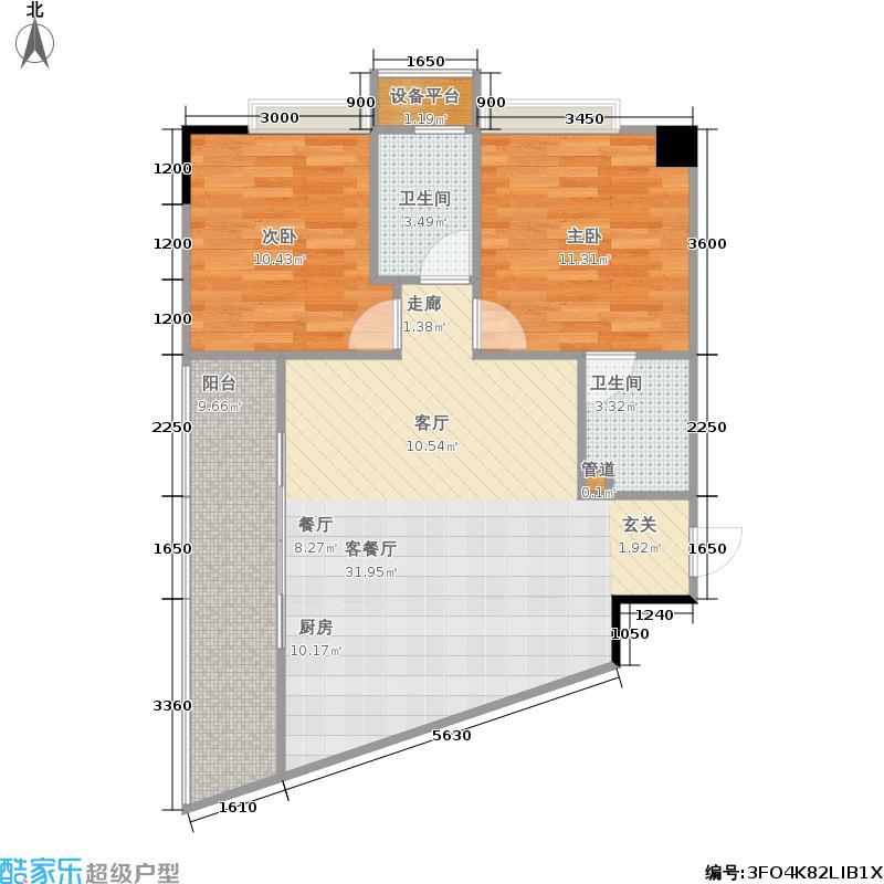 铂金时代户型2室1厅2卫