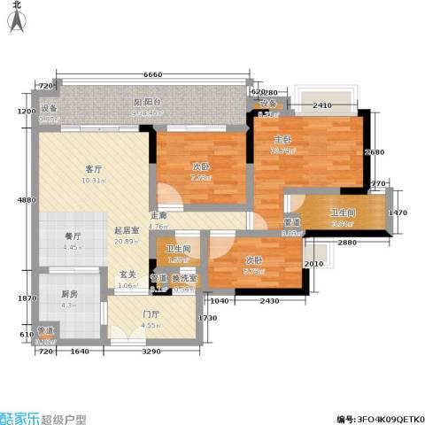 富力现代广场3室0厅2卫1厨106.00㎡户型图