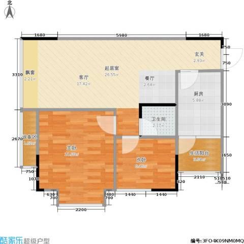 缤纷时代2室0厅1卫1厨64.83㎡户型图