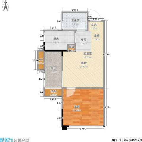 南方新城苹果派1室0厅1卫1厨47.64㎡户型图