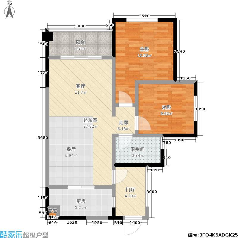 紫御江山1、2、8号楼4、5号房H户型2室1卫1厨