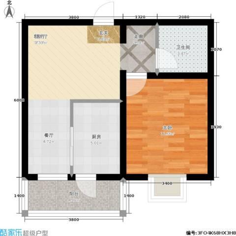 胜达家园1室1厅1卫1厨59.00㎡户型图
