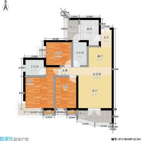 森岭居3室0厅2卫1厨98.00㎡户型图