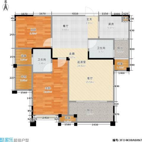 南方新城苹果派2室0厅2卫1厨88.87㎡户型图