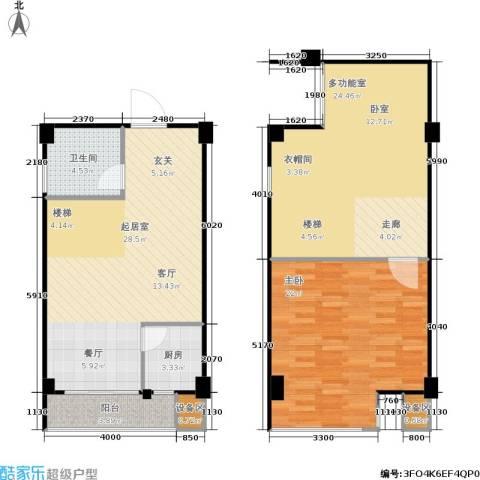 立方寓1室0厅1卫1厨88.01㎡户型图