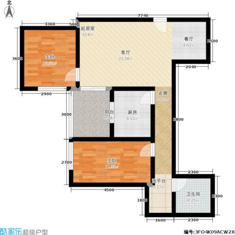 东环居苑2室0厅1卫1厨83.27㎡户型图