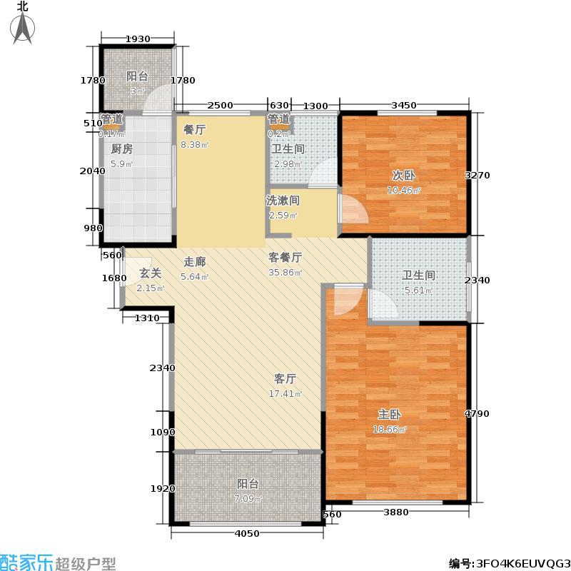 海上国际城97.93㎡D-1'户型2室2厅2卫