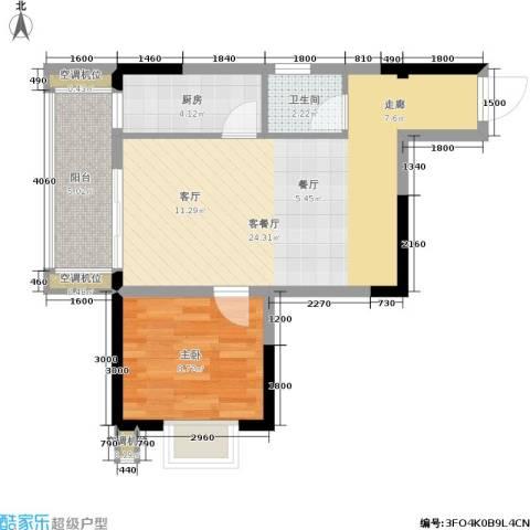 御景龙庭1室1厅1卫1厨45.50㎡户型图