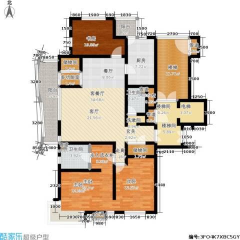 新洲上海花园浦江苑2室1厅2卫1厨145.00㎡户型图