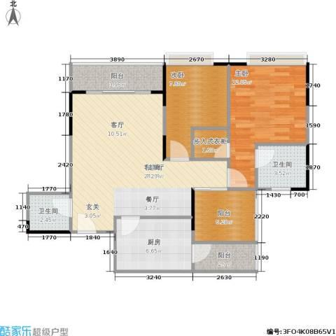 永缘城市交响2室1厅2卫1厨97.00㎡户型图