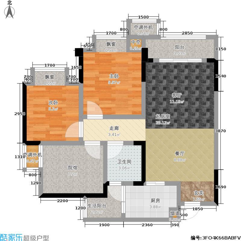 协信城立方56栋2367号房+院馆户型2室1卫1厨