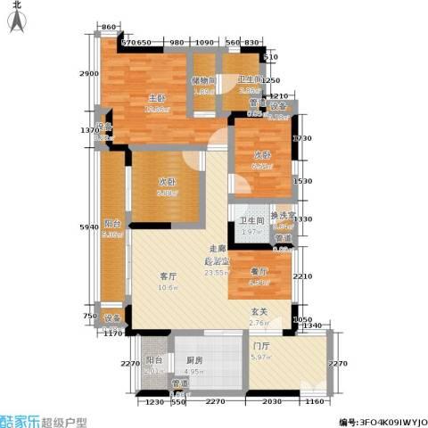 富力现代广场3室0厅2卫1厨94.00㎡户型图