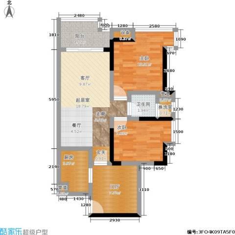 富力现代广场2室0厅1卫1厨68.00㎡户型图