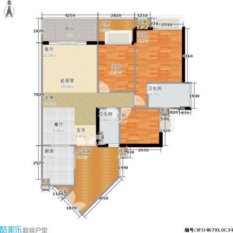 富力海洋广场3室0厅2卫1厨110.38㎡户型图