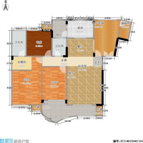 长安丽都3室0厅2卫1厨129.87㎡户型图