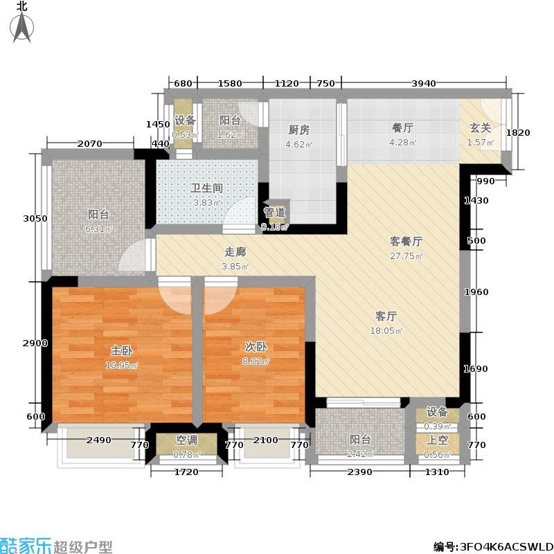 华宇金沙时代三期910号楼2单元2号房2室户型2室1厅1卫1厨