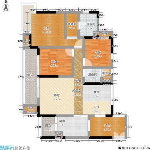 富力现代广场3室0厅2卫1厨103.00㎡户型图