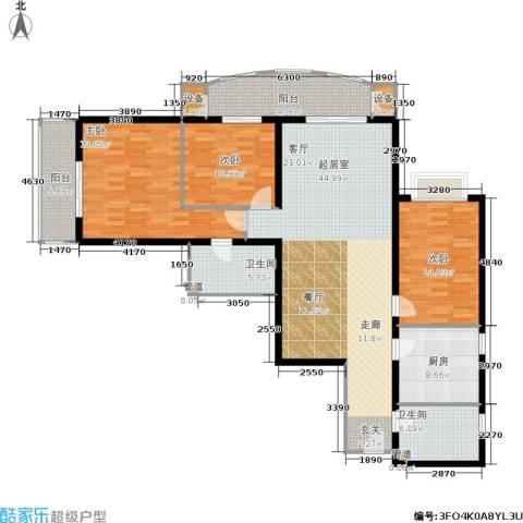 红莲晴园3室0厅2卫1厨142.00㎡户型图