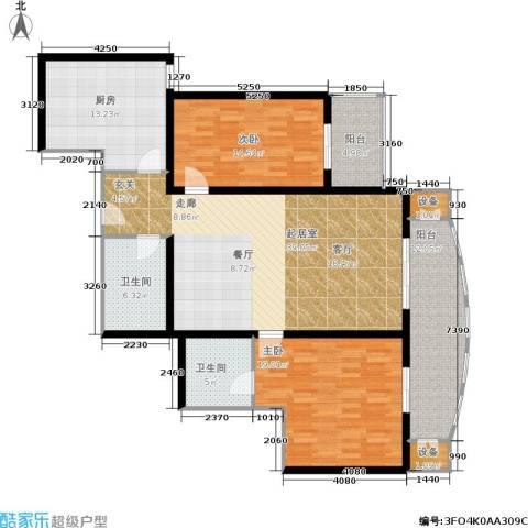 红莲晴园2室0厅2卫1厨131.00㎡户型图