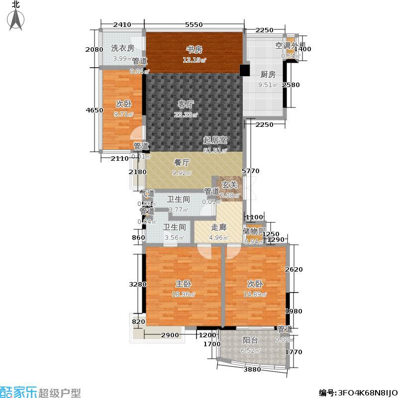 光大江湾府第135.00㎡k户型4室2厅2卫