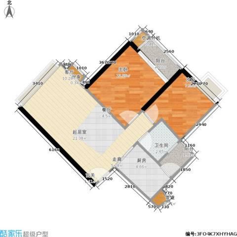 富力海洋广场2室0厅1卫1厨58.00㎡户型图