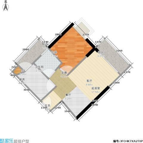 富力海洋广场1室0厅1卫1厨43.00㎡户型图