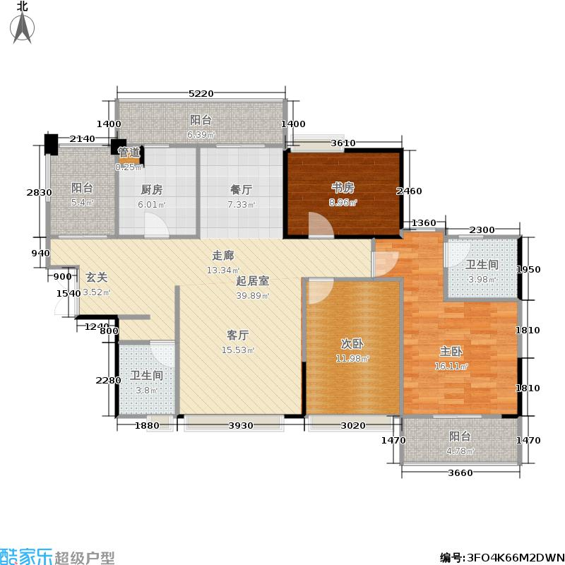 振业青秀山1号127.47㎡振业青秀山1号户型图(5/12张)户型3室2厅2卫
