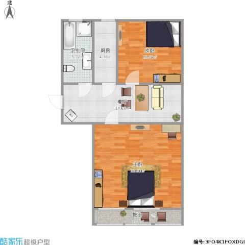 南辛北街宿舍2室1厅1卫1厨87.00㎡户型图