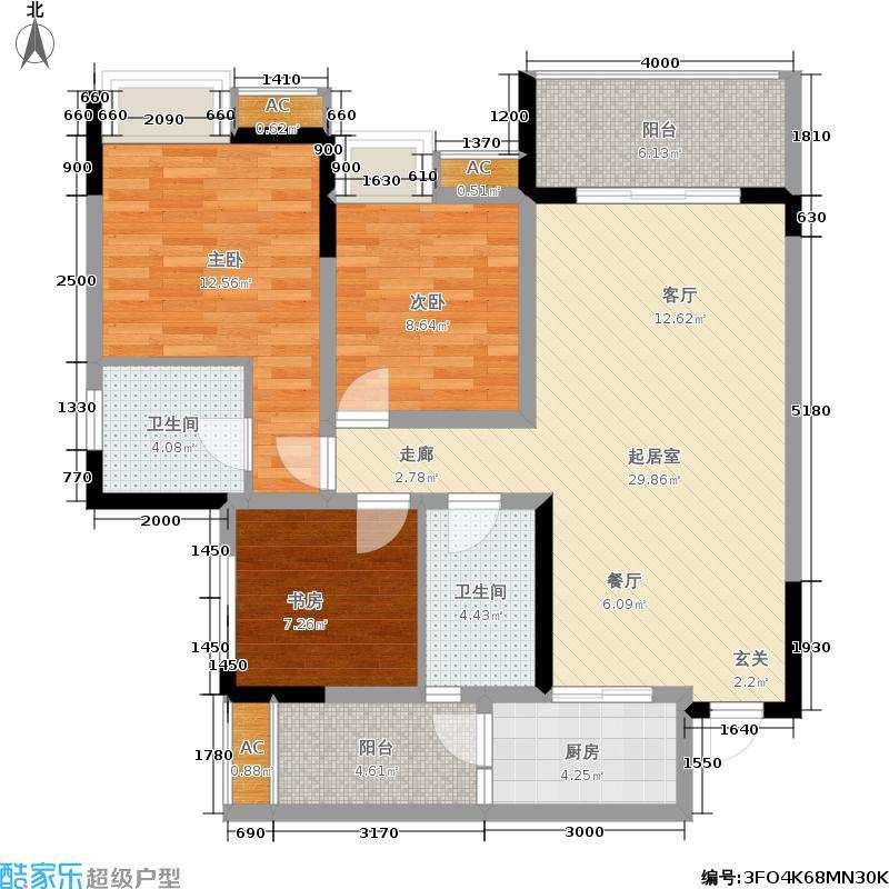 中亿阳明山水88.22㎡18-3三室两厅两卫户型