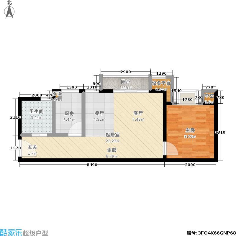 隆鑫花漾汇50.23㎡N户型 一室两厅 套内面积约42.85平户型1室2厅1卫