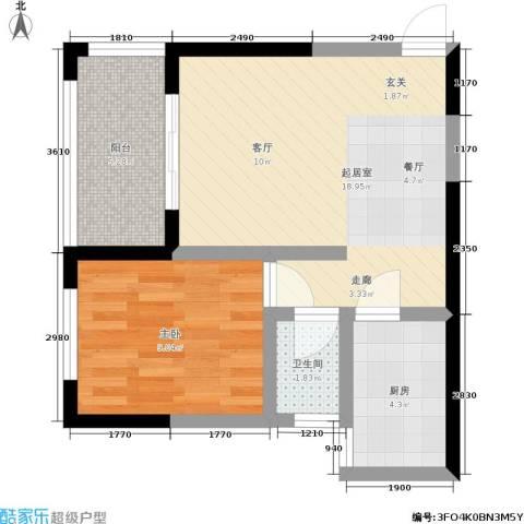 曼哈顿广场1室0厅1卫1厨41.00㎡户型图