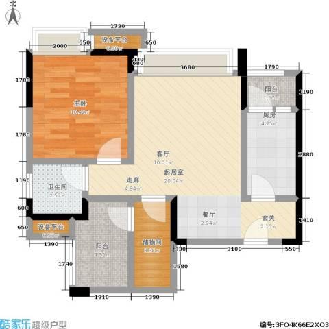 正源缙云山水1室0厅1卫1厨56.38㎡户型图