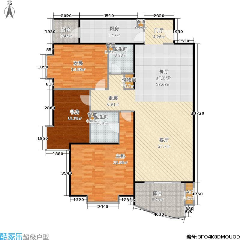 京贸国际公寓144.70㎡三室两厅两卫户型