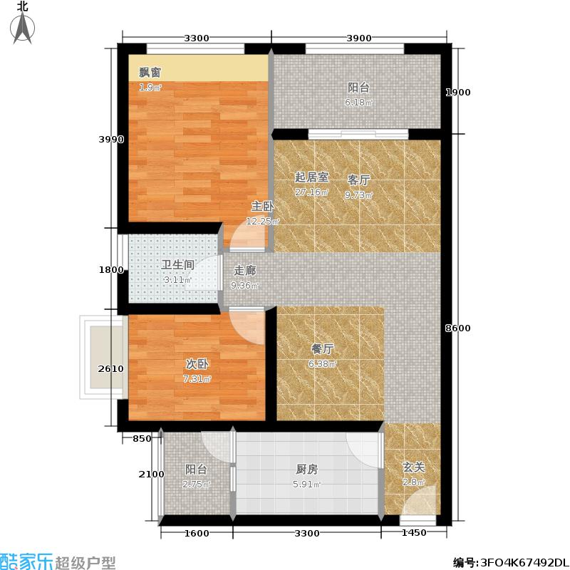 银鸿畔山雅筑82.00㎡银鸿畔山雅筑1期2号楼2号户型2室2厅1卫1厨 82.00平米户型