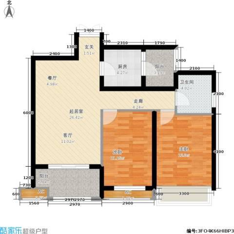 龙湖花千树2室0厅1卫1厨99.00㎡户型图