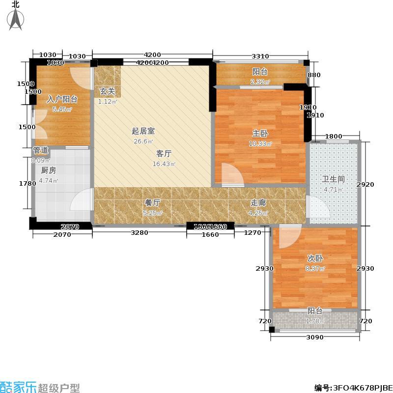 渝复竹芸山水两室一厅一卫一厨户型2室1厅1卫
