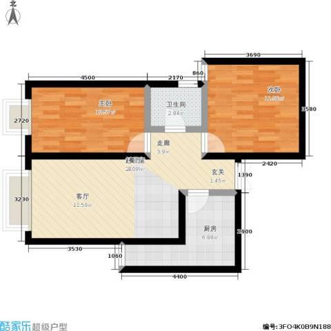 船舶大厦2室0厅1卫1厨60.00㎡户型图