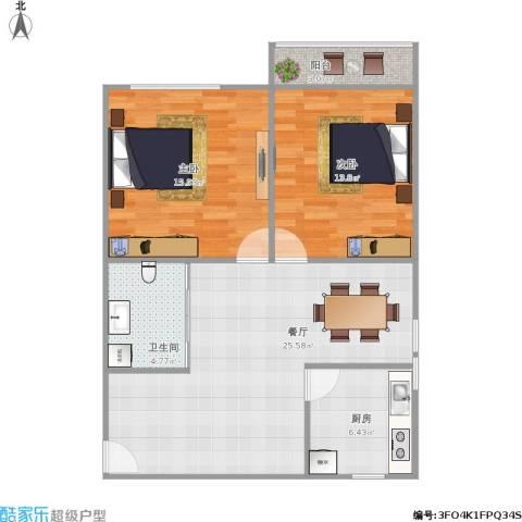 景芳新五区2室1厅1卫1厨93.00㎡户型图
