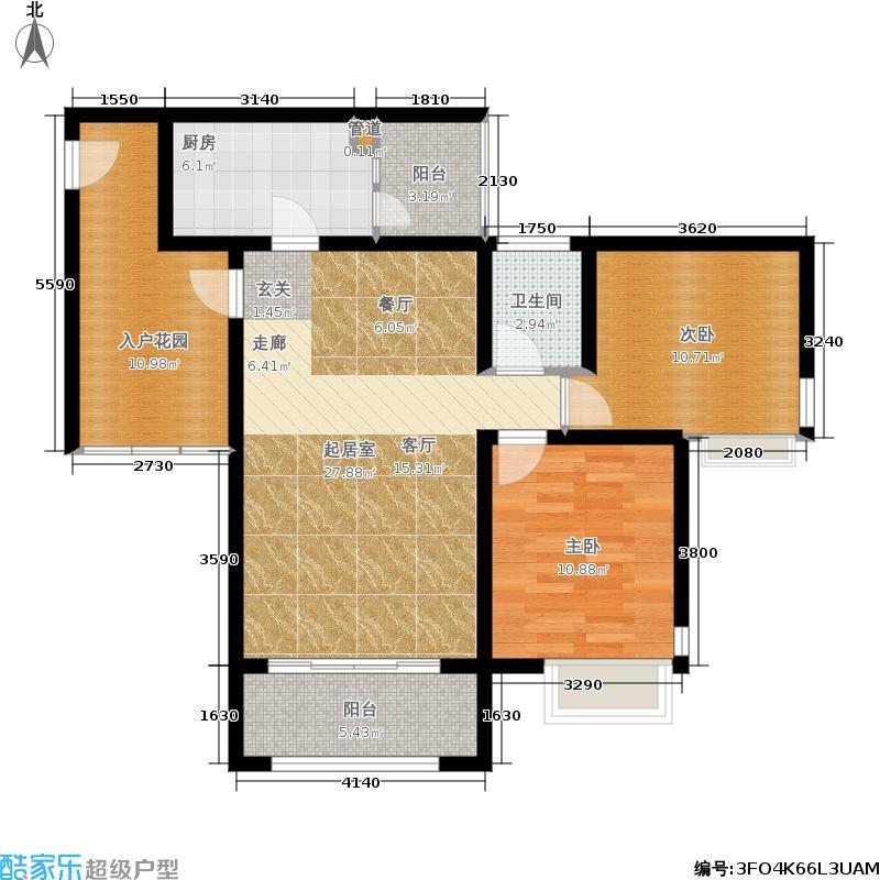 银鸿畔山雅筑88.37㎡一期1、3号楼标准层6号房2室2厅1卫1厨户型2室2厅1卫