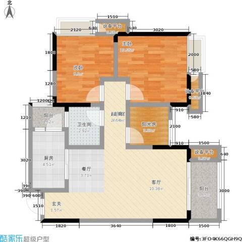 正源缙云山水2室0厅1卫1厨73.04㎡户型图