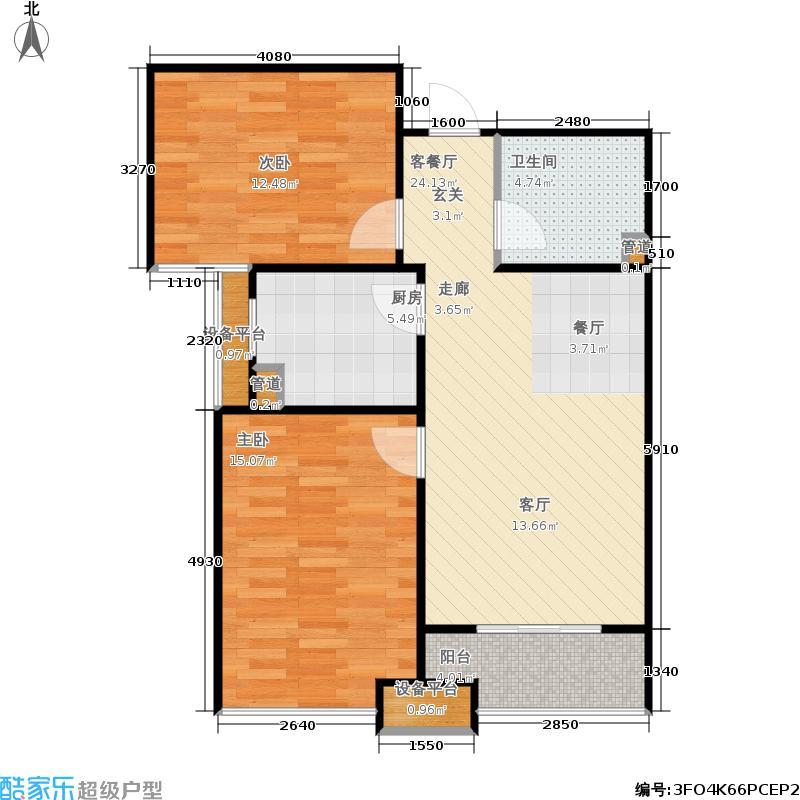 银座广场74.00㎡5D户型2室2厅1卫