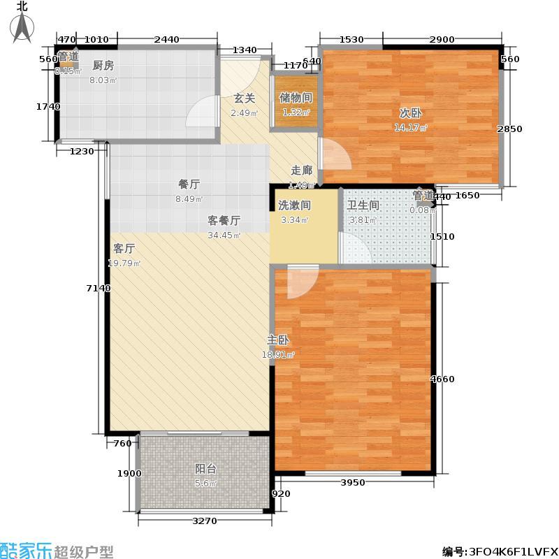 海上国际城93.72㎡A2-2户型2室2厅1卫