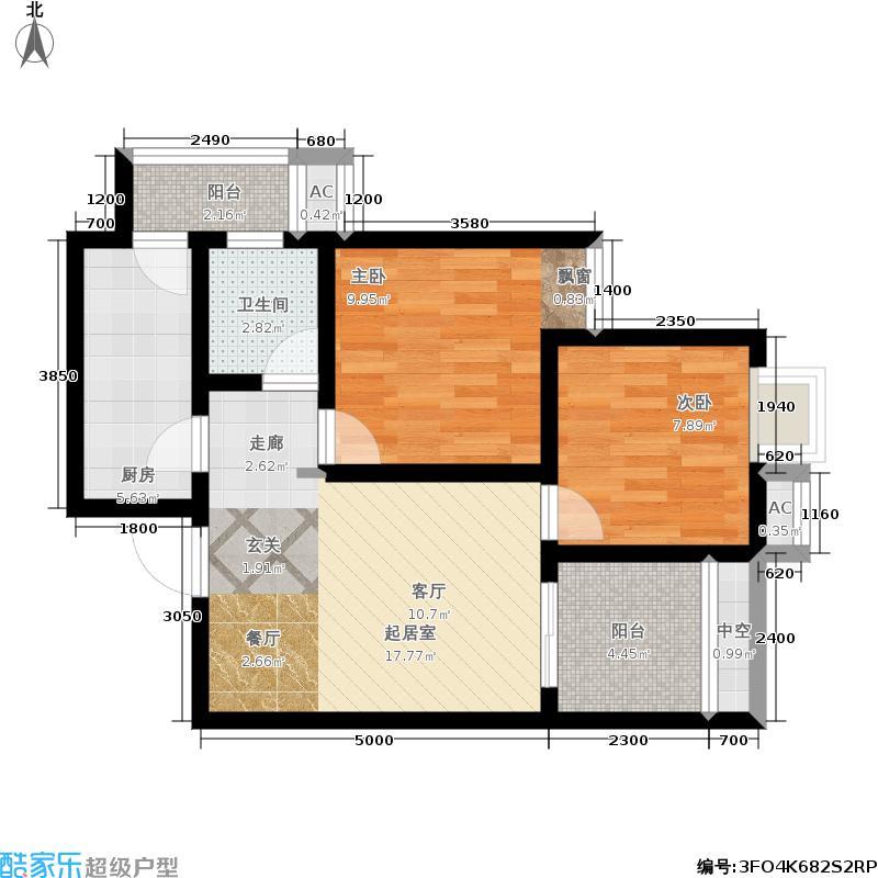 金融广场首座B2套内面积5514户型2室1卫1厨