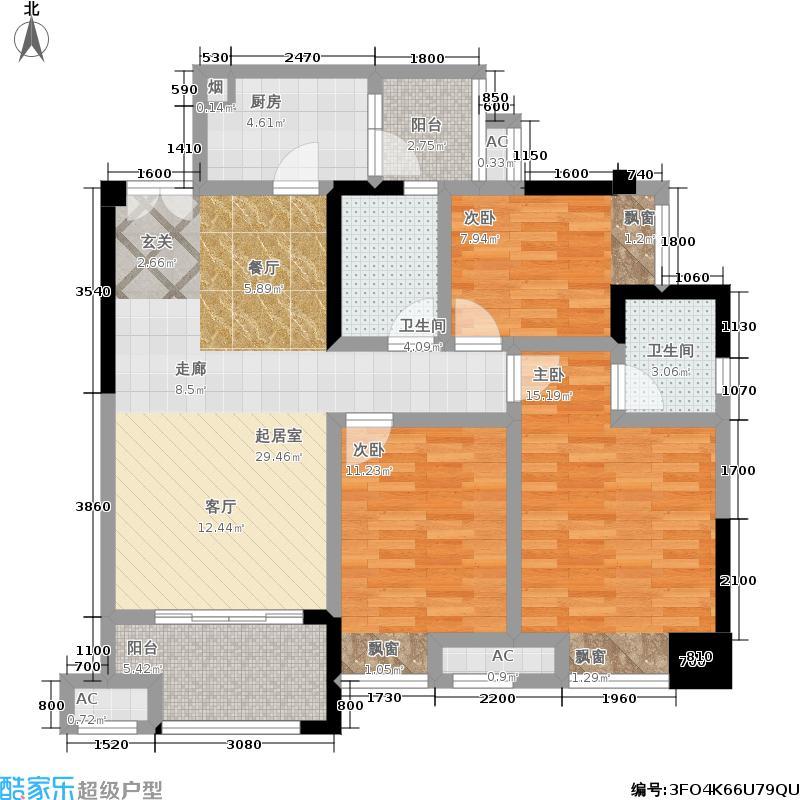 财信沙滨城市100.30㎡1号房 三房两厅两卫+双阳台 套内89.02平米户型3室2厅2卫