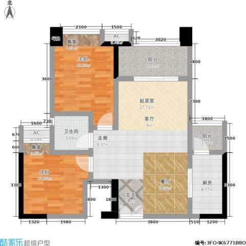 财信沙滨城市2室0厅1卫1厨81.00㎡户型图