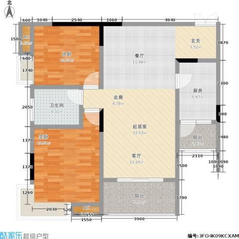 森岭居2室0厅1卫1厨76.69㎡户型图
