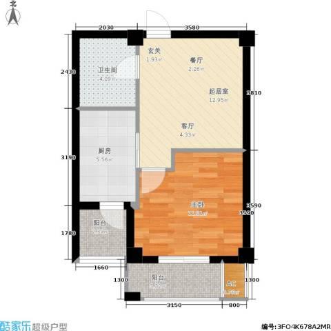颐和名苑1室0厅1卫1厨59.00㎡户型图