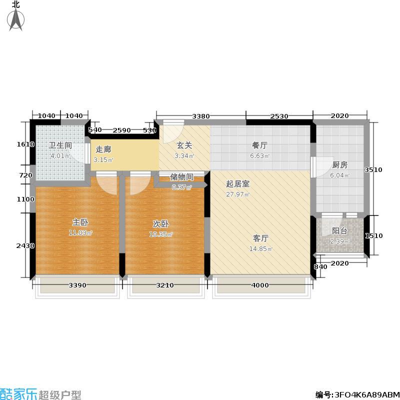 天一绿海11,14-B4二室二厅一卫户型