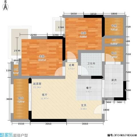 中房千寻2室0厅1卫1厨72.00㎡户型图
